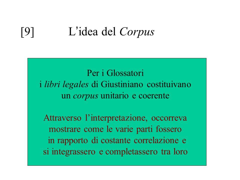 [9] L'idea del Corpus Per i Glossatori